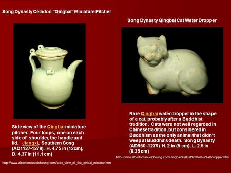 Song Dynasty Celadon Qingbai Miniature Pitcher Side view of the Qingbai miniature pitcher. Four loops, one on each side of shoulder, the handle and lid.