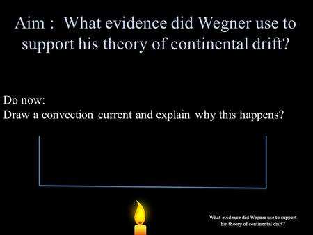 Aim : What evidence did Wegner use to support his theory of continental drift? Do now: Draw a convection current and explain why this happens? What evidence.