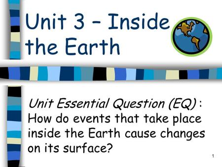 Unit 3 – Inside the <strong>Earth</strong> Unit Essential Question (EQ) : How do events that take place inside the <strong>Earth</strong> cause changes on its surface? 1.