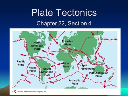 "Plate Tectonics Chapter 22, Section 4. Lithosphere Earth's lithosphere or ""skin"" has tectonic plates Currently there are 12 large plates and several smaller."