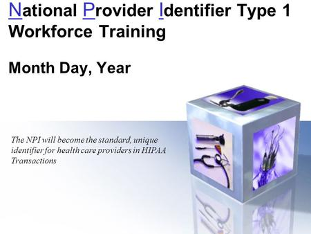 N ational P rovider I dentifier Type 1 Workforce Training Month Day, Year The NPI will become the standard, unique identifier for health care providers.