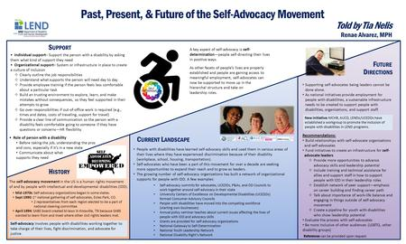Past, Present, & Future of the Self-Advocacy Movement H ISTORY S UPPORT F UTURE Told by Tia Nelis C URRENT L ANDSCAPE The self-advocacy movement in the.