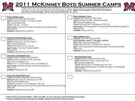 2011 McKinney Boyd Summer Camps Please check the box next to the camp or camps you would like your child to attend and complete the registration form on.