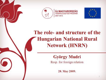 1 The role- and structure of the Hungarian National Rural Network (HNRN) György Mudri Resp. for foreign relation 28. May 2009.