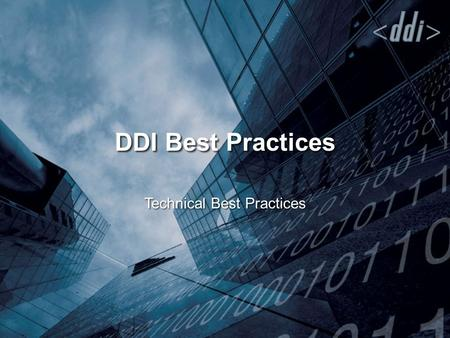 DDI Best Practices Technical Best Practices. High Level Architecture URNs and Entity Resolution Managing Unique Identifiers DDI as Content for Repositories.