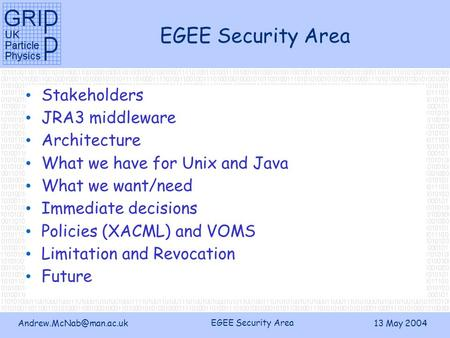 EGEE Security Area 13 May 2004 EGEE Security Area Stakeholders JRA3 middleware Architecture What we have for Unix and Java What.