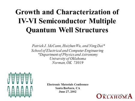 Growth and Characterization of IV-VI Semiconductor Multiple Quantum Well Structures Patrick J. McCann, Huizhen Wu, and Ning Dai* School of Electrical and.