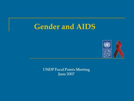 Gender and AIDS UNDP Focal Points Meeting June 2007.
