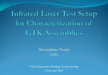 NA62 Gigatracker Working Group Meeting 2 February 2010 Massimiliano Fiorini CERN.