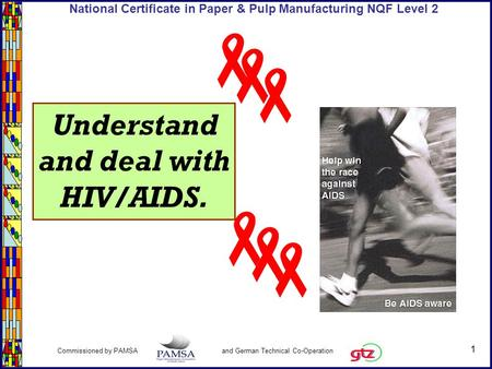 1 Commissioned by PAMSA and German Technical Co-Operation National Certificate in Paper & Pulp Manufacturing NQF Level 2 Understand and deal with HIV/AIDS.
