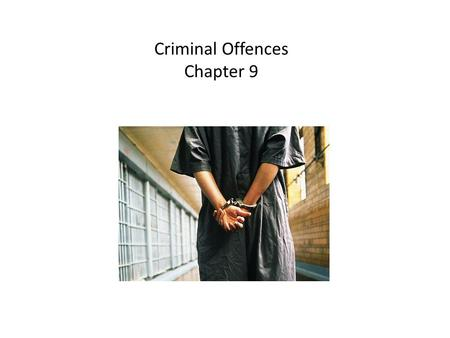 Criminal Offences Chapter 9. Chapter Overview -Levels of Offences -Offences Against the Person -Offences Against Property -Other Criminal Code Offences.