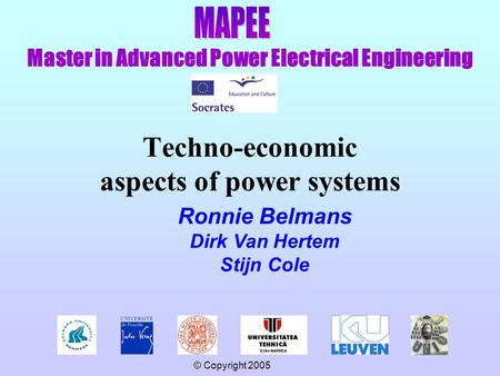Master in Advanced Power Electrical Engineering © Copyright 2005 Techno-economic aspects of power systems Ronnie Belmans Dirk Van Hertem Stijn Cole.