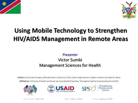 Using Mobile Technology to Strengthen HIV/AIDS Management in Remote Areas Authors: (1)Kunda, Mwape; (2)Pereko, Dawn; (2)Sumbi, Victor; (2)Mwinga, Samson;
