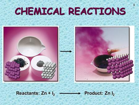 1 CHEMICAL REACTIONS Reactants: Zn + I 2 Product: Zn I 2.
