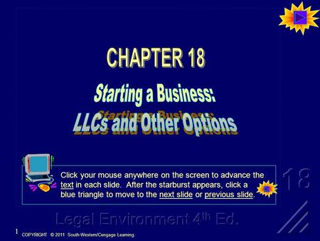 COPYRIGHT © 2011 South-Western/Cengage Learning. 1 Click your mouse anywhere on the screen to advance the text in each slide. After the starburst appears,