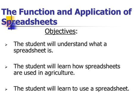 The Function and Application of Spreadsheets Objectives:  The student will understand what a spreadsheet is.  The student will learn how spreadsheets.