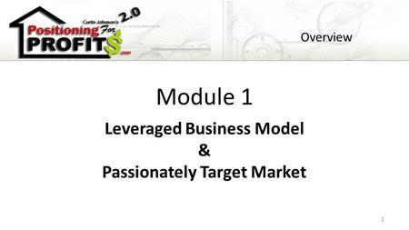 Module 1 Leveraged Business Model & Passionately Target Market Overview 1.