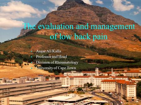 The evaluation and management of low back pain  Asgar Ali Kalla  Professor and Head  Division of Rheumatology  University of Cape Town.