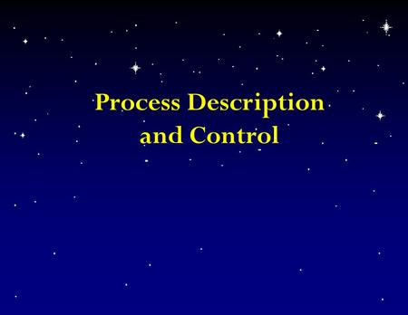 Process Description and Control. Process concepts n Definitions – replaces task, job – program in execution – entity that can be assigned to and executed.