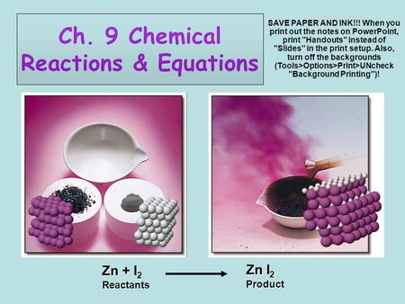 Ch. 9 Chemical Reactions & Equations Zn + I 2 Reactants Zn I 2 Product SAVE PAPER AND INK!!! When you print out the notes on PowerPoint, print Handouts