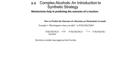 Complex Alcohols: An Introduction to Synthetic Strategy 8-9 Mechanisms help in predicting the outcome of a reaction. Bromide is a better leaving group.