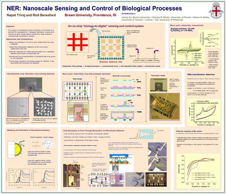 NER: Nanoscale Sensing and Control of Biological Processes Objective: To provide a microelectronic and microfluidic environment as a test bed for nanoelectronic.