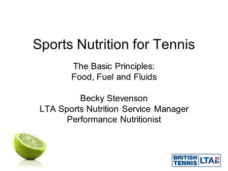 Sports Nutrition for Tennis