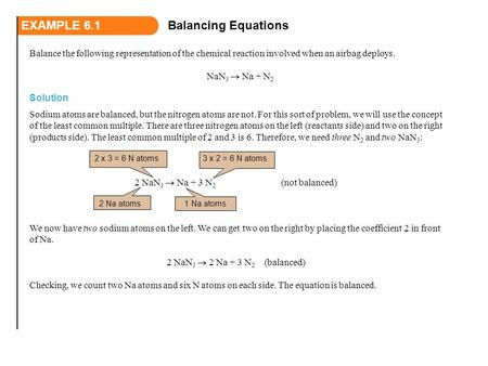 Balance the following representation of the chemical reaction involved when an airbag deploys. NaN 3  Na + N 2 EXAMPLE 6.1Balancing Equations Solution.