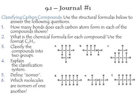 9.1 – Journal #1 Classifying Carbon Compounds Classifying Carbon Compounds: Use the structural formulas below to answer the following questions. 1.How.