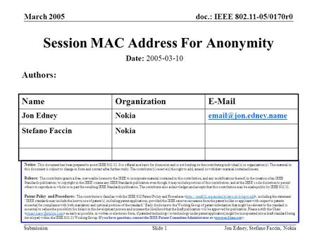 Doc.: IEEE 802.11-05/0170r0 Submission March 2005 Jon Edney, Stefano Faccin, NokiaSlide 1 Session MAC Address For Anonymity Date: 2005-03-10 Notice: This.
