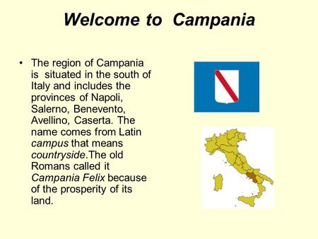 Welcome to Campania The region of Campania is situated in the south of Italy and includes the provinces of Napoli, Salerno, Benevento, Avellino, Caserta.
