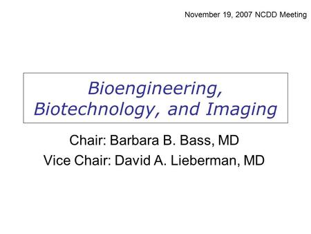 Bioengineering, Biotechnology, and Imaging November 19, 2007 NCDD Meeting Chair: Barbara B. Bass, MD Vice Chair: David A. Lieberman, MD.