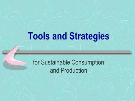 Tools and Strategies for Sustainable Consumption and Production.