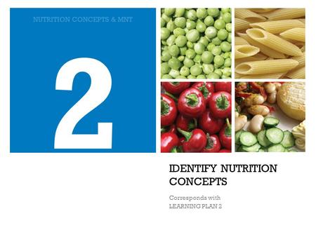 IDENTIFY NUTRITION CONCEPTS Corresponds with LEARNING PLAN 2 2 NUTRITION CONCEPTS & MNT.