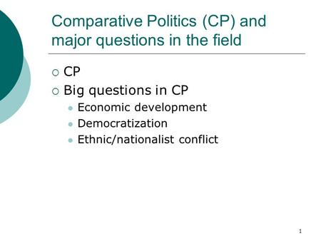 Comparative Politics (CP) and major questions in the field  CP  Big questions in CP Economic development Democratization Ethnic/nationalist conflict.