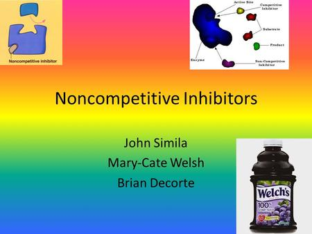 Noncompetitive Inhibitors John Simila Mary-Cate Welsh Brian Decorte.