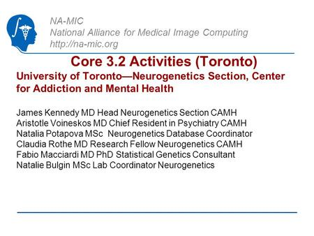 NA-MIC National Alliance for Medical Image Computing  Core 3.2 Activities (Toronto) University of Toronto—Neurogenetics Section, Center.