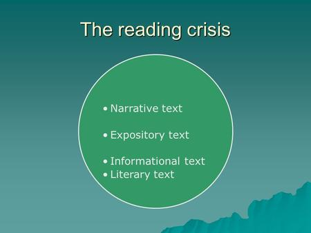The reading crisis Narrative text Expository text Informational text Literary text.