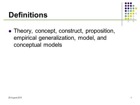 Definitions Theory, concept, construct, proposition, empirical generalization, model, and conceptual models 20 April 2017.
