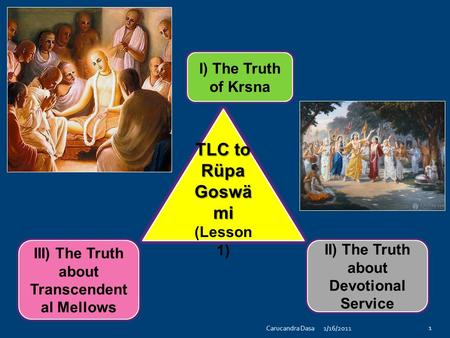 TLC to Rüpa Goswä mi (Lesson 1) III) The Truth about Transcendent al Mellows II) The Truth about Devotional Service I) The Truth of Krsna 1/16/2011 1 Carucandra.