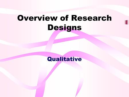 Overview of Research Designs Qualitative. Outline Comparison of Qualitative and Quantitative Research Types of Qualitative Research Data Collection in.