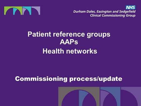 Commissioning process/update Patient reference groups AAPs Health networks.