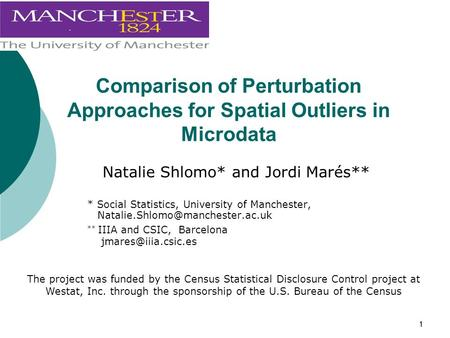 11 Comparison of Perturbation Approaches for Spatial Outliers in Microdata Natalie Shlomo* and Jordi Marés** * Social Statistics, University of Manchester,