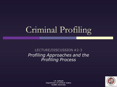 criminal psychology chapter techniques of criminal investigation  j b helfgott department of criminal justice seattle university criminal profiling lecture discussion 2