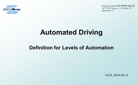 Definition for Levels of Automation