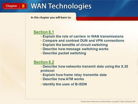 Section 8.1 Explain the role of carriers in WAN transmissions Compare and contrast DUN and VPN connections Explain the benefits of circuit switching Describe.