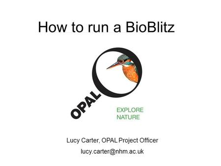 How to run a BioBlitz Lucy Carter, OPAL Project Officer