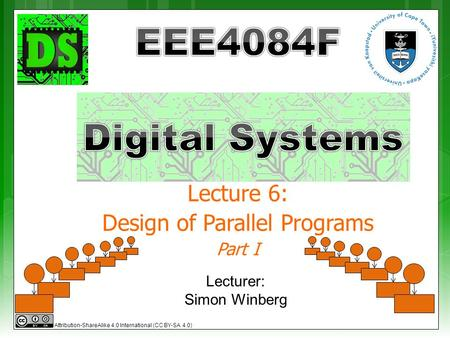 Lecture 6: Design of Parallel Programs Part I Lecturer: Simon Winberg Attribution-ShareAlike 4.0 International (CC BY-SA 4.0)