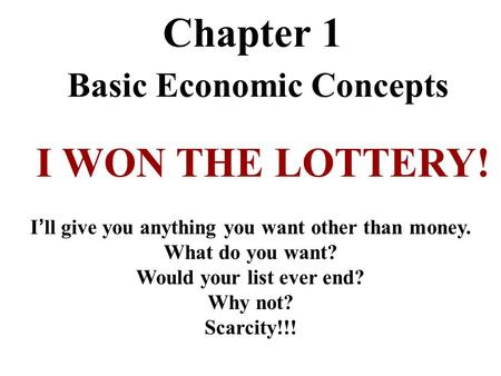 Chapter 1 Basic Economic Concepts