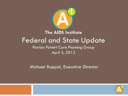 The AIDS Institute Federal and State Update Florida Patient Care Planning Group April 3, 2013 Michael Ruppal, Executive Director.